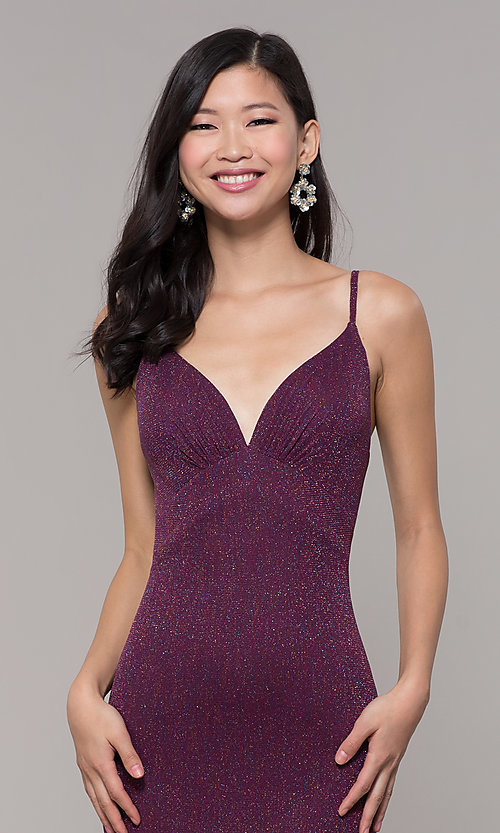 Image of low-back shimmer-knit long formal dress. Style: CLA-3728 Detail Image 6