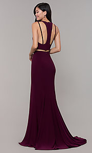 Image of two-piece long simple prom dress.  Style: CLA-3761 Back Image