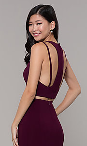 Image of two-piece long simple prom dress.  Style: CLA-3761 Detail Image 2