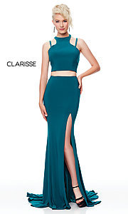 Image of two-piece long simple prom dress.  Style: CLA-3761 Detail Image 6