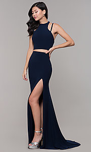 Image of two-piece long simple prom dress.  Style: CLA-3761 Detail Image 3