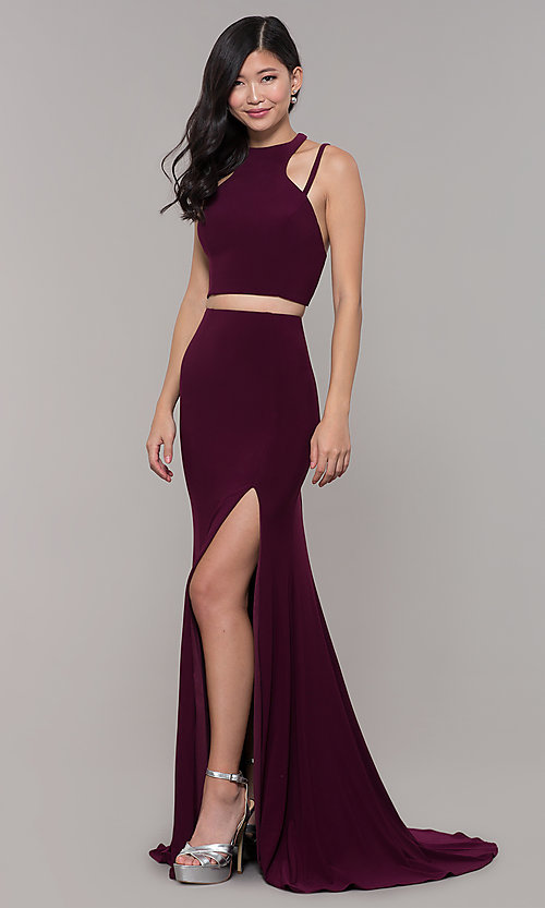 Image of two-piece long simple prom dress.  Style: CLA-3761 Front Image