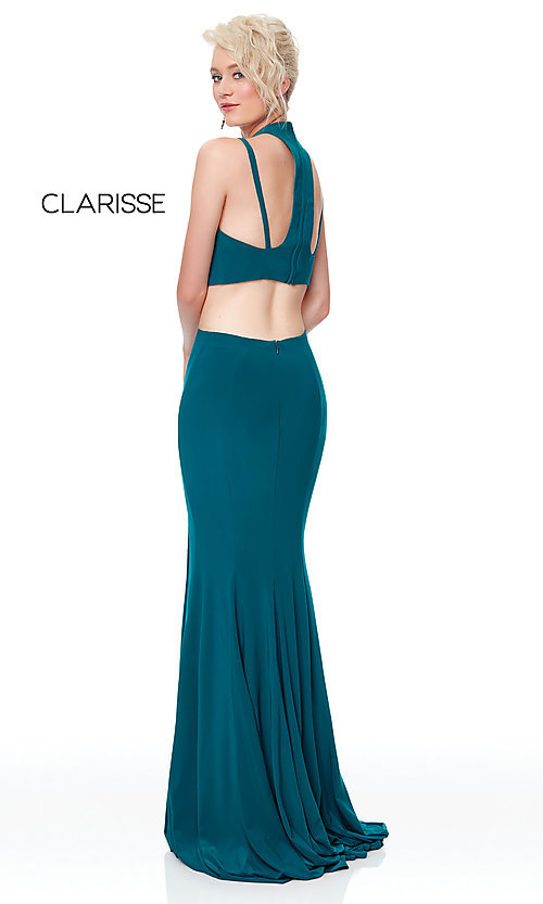 Image of two-piece long simple prom dress.  Style: CLA-3761 Detail Image 7