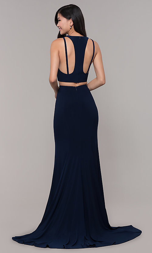 Image of two-piece long simple prom dress.  Style: CLA-3761 Detail Image 4