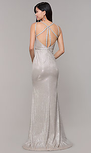 Image of beaded strappy-back metallic-glitter long prom dress. Style: CLA-3766 Detail Image 7