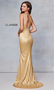 Image of beaded strappy-back metallic-glitter long prom dress. Style: CLA-3766 Front Image