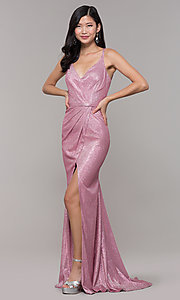 Image of beaded strappy-back metallic-glitter long prom dress. Style: CLA-3766 Detail Image 2