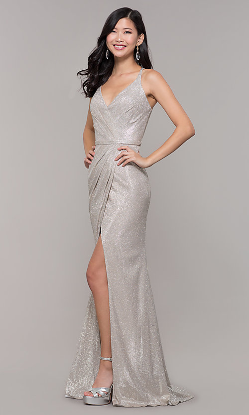 Image of beaded strappy-back metallic-glitter long prom dress. Style: CLA-3766 Detail Image 6