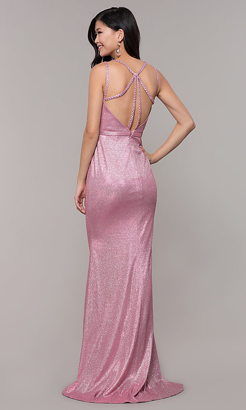 Image of beaded strappy-back metallic-glitter long prom dress. Style: CLA-3766 Detail Image 3