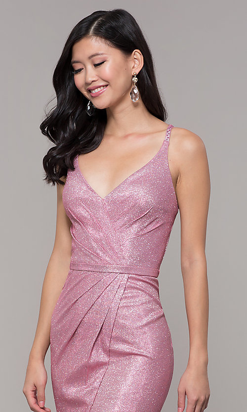 Image of beaded strappy-back metallic-glitter long prom dress. Style: CLA-3766 Detail Image 4