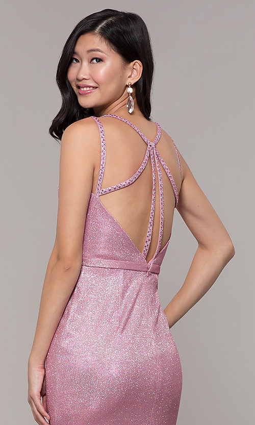 Image of beaded strappy-back metallic-glitter long prom dress. Style: CLA-3766 Detail Image 5