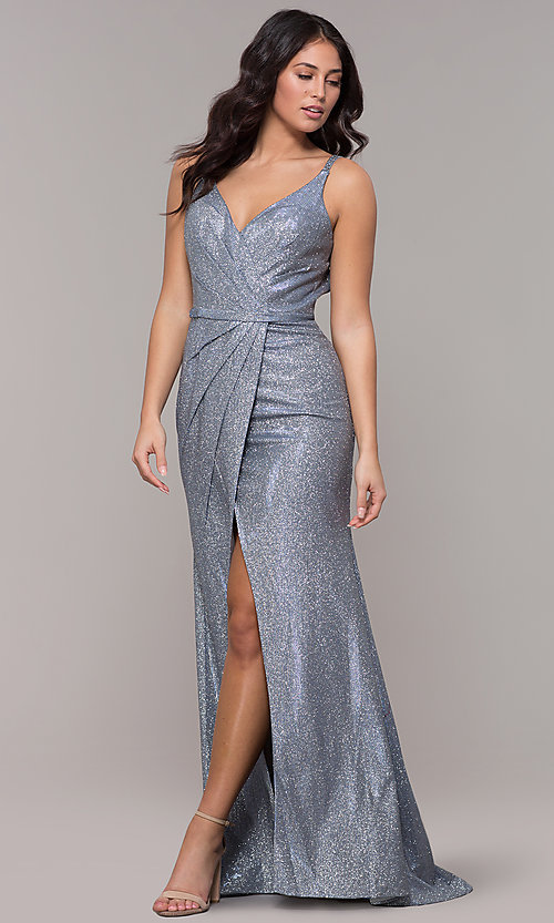 Image of beaded strappy-back metallic-glitter long prom dress. Style: CLA-3766 Back Image
