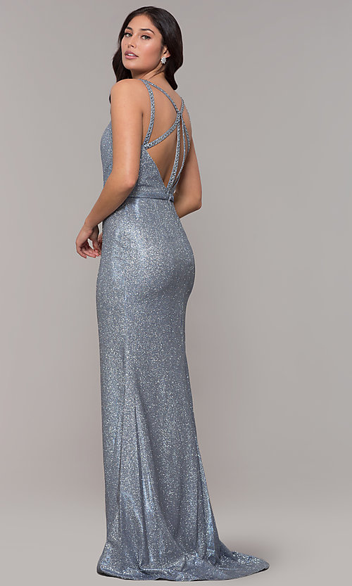 Image of beaded strappy-back metallic-glitter long prom dress. Style: CLA-3766 Detail Image 1
