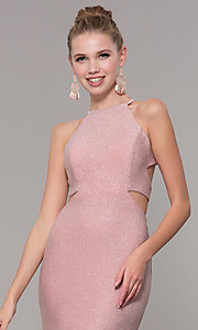 Image of long glitter prom dress with corset back. Style: CLA-3789 Detail Image 1