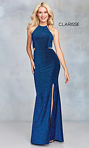 Image of long glitter prom dress with corset back. Style: CLA-3789 Detail Image 3