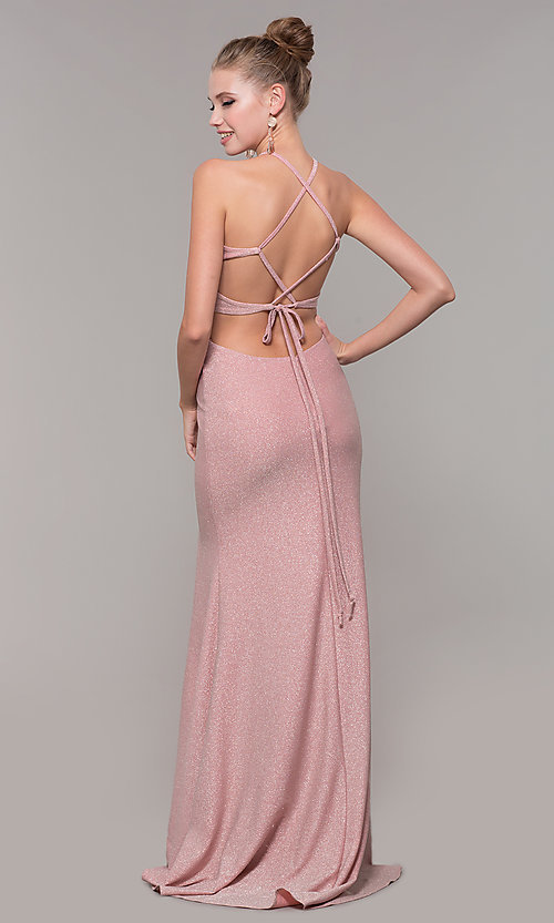 Image of long glitter prom dress with corset back. Style: CLA-3789 Back Image