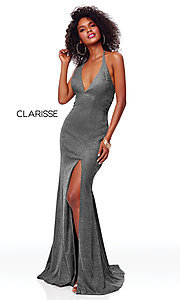 Image of backless long glitter-knit formal dress with slit. Style: CLA-3790 Detail Image 4