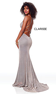Image of backless long glitter-knit formal dress with slit. Style: CLA-3790 Detail Image 5