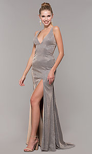Image of backless long glitter-knit formal dress with slit. Style: CLA-3790 Detail Image 3
