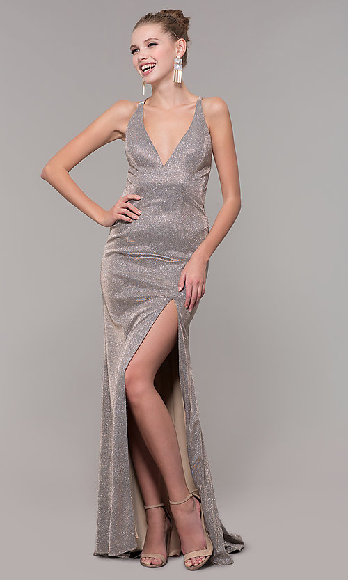Image of backless long glitter-knit formal dress with slit. Style: CLA-3790 Front Image