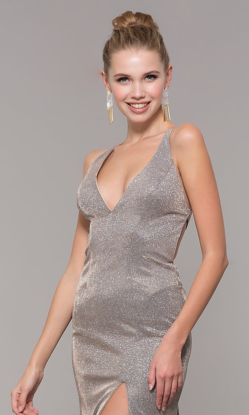 Image of backless long glitter-knit formal dress with slit. Style: CLA-3790 Detail Image 1