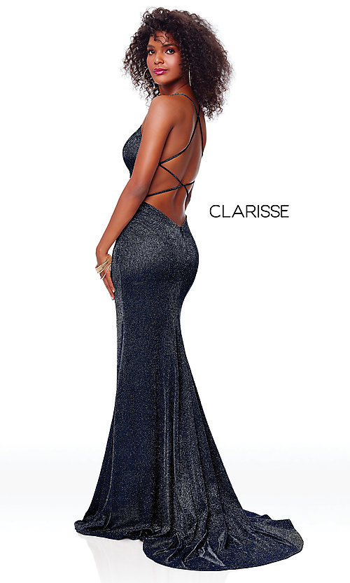 Image of backless long glitter-knit formal dress with slit. Style: CLA-3790 Detail Image 7