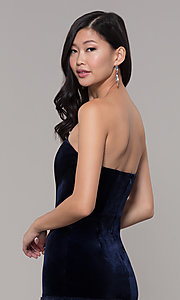 Image of navy velvet short holiday dress with fur hem. Style: AC-SD24684B Detail Image 2