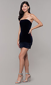 Image of navy velvet short holiday dress with fur hem. Style: AC-SD24684B Detail Image 3