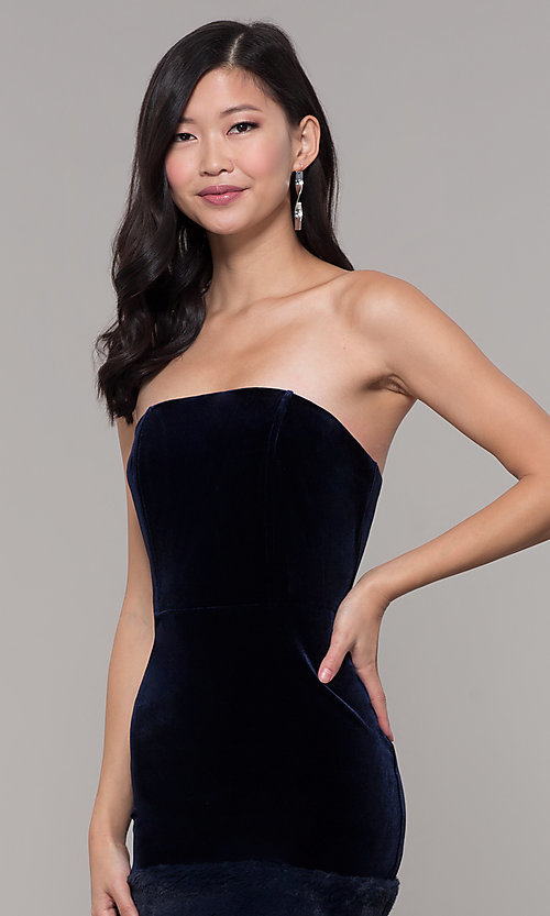 Image of navy velvet short holiday dress with fur hem. Style: AC-SD24684B Detail Image 1