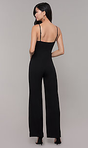 Image of v-neck long black holiday party jumpsuit. Style: AC-NS74427W Back Image