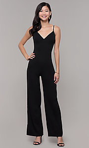 Image of v-neck long black holiday party jumpsuit. Style: AC-NS74427W Detail Image 3