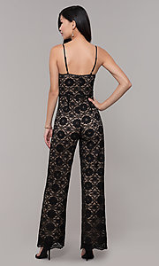 Image of v-neck long black lace holiday party jumpsuit. Style: AC-NSH74417T Back Image