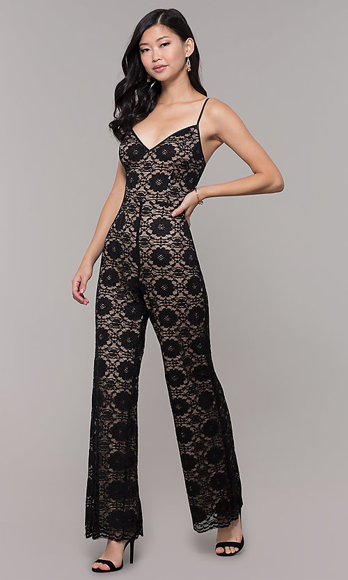 Image of v-neck long black lace holiday party jumpsuit. Style: AC-NSH74417T Front Image