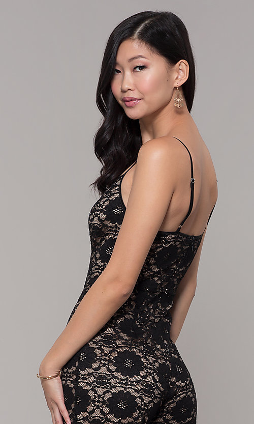 Image of v-neck long black lace holiday party jumpsuit. Style: AC-NSH74417T Detail Image 2