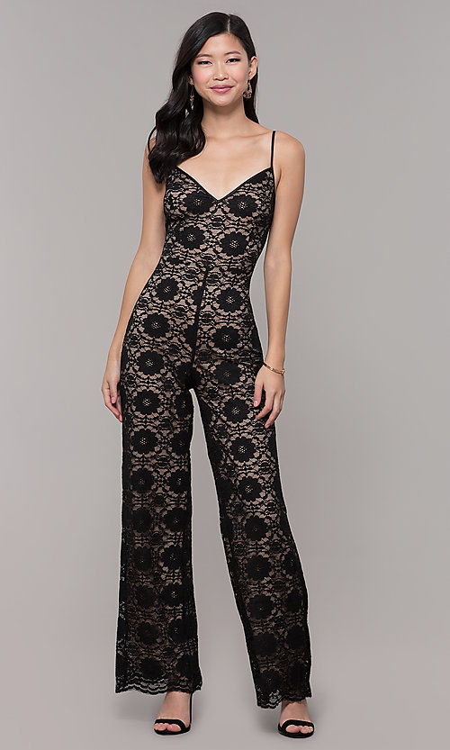Image of v-neck long black lace holiday party jumpsuit. Style: AC-NSH74417T Detail Image 3