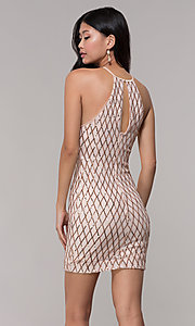 Image of sequin short homecoming party dress in rose gold. Style: MCR-PL-2609 Back Image