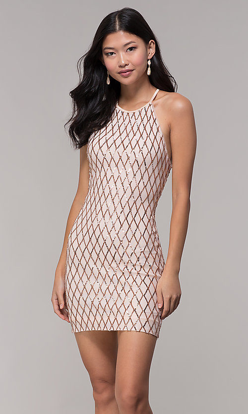 Image of sequin short homecoming party dress in rose gold. Style: MCR-PL-2609 Front Image