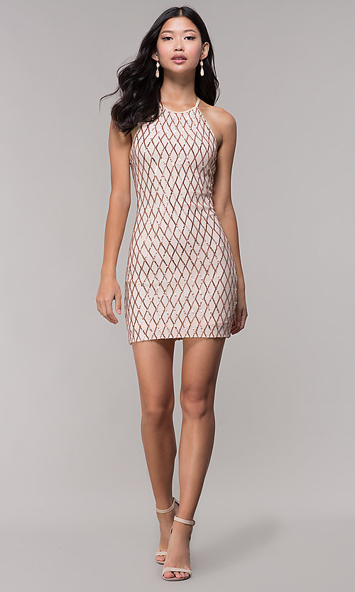 Image of sequin short homecoming party dress in rose gold. Style: MCR-PL-2609 Detail Image 1