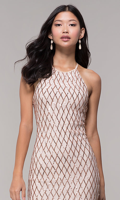 Image of sequin short homecoming party dress in rose gold. Style: MCR-PL-2609 Detail Image 2