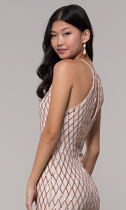 Image of sequin short homecoming party dress in rose gold. Style: MCR-PL-2609 Detail Image 3