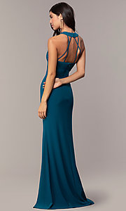 Image of strappy-back empire-waist long formal prom dress. Style: JU-10811 Back Image