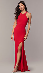 Image of strappy-back empire-waist long formal prom dress. Style: JU-10811 Detail Image 4