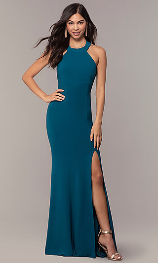 Strappy-Back Empire-Waist Long Formal Prom Dress