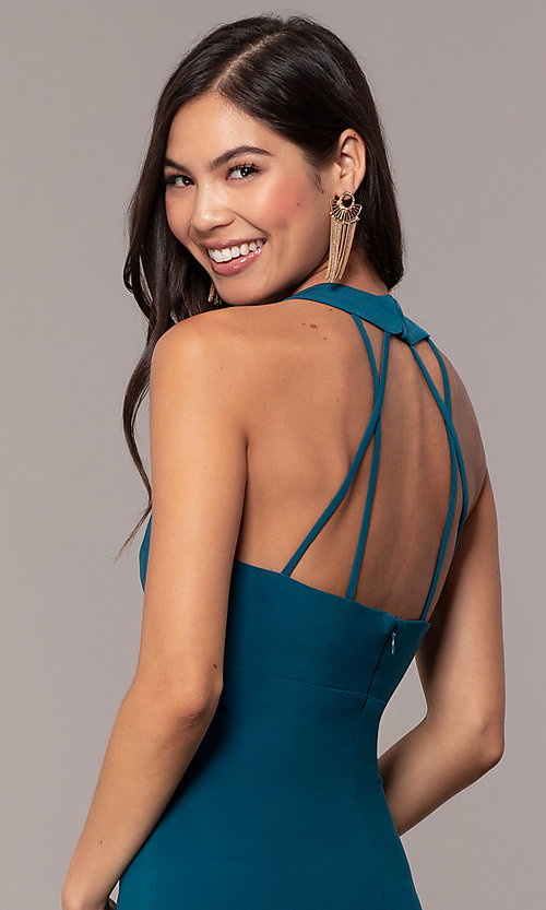 Image of strappy-back empire-waist long formal prom dress. Style: JU-10811 Detail Image 2