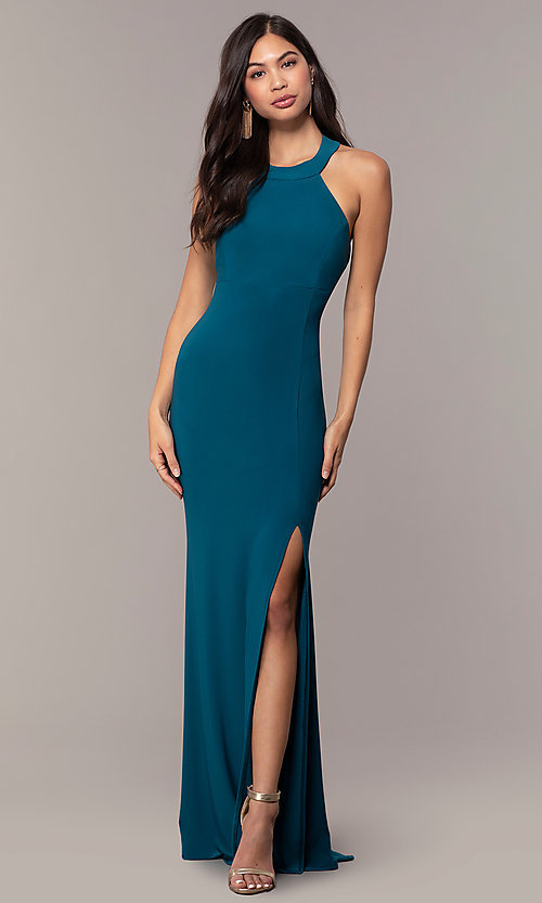 Image of strappy-back empire-waist long formal prom dress. Style: JU-10811 Detail Image 3