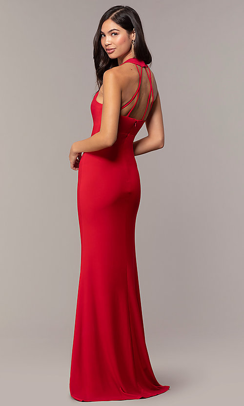 Image of strappy-back empire-waist long formal prom dress. Style: JU-10811 Detail Image 5