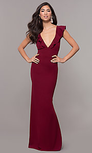 Image of long prom dress with ruffle-trimmed deep v-neckline. Style: JU-10982 Detail Image 3