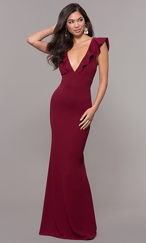Image of long prom dress with ruffle-trimmed deep v-neckline. Style: JU-10982 Front Image