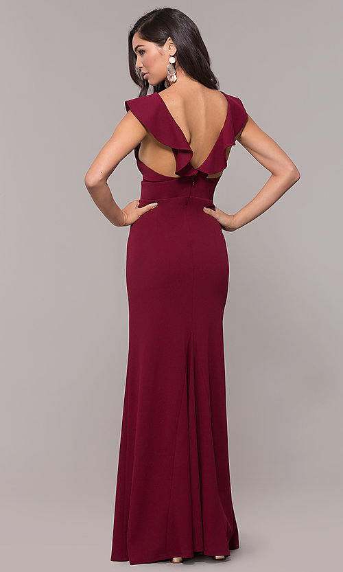 Image of long prom dress with ruffle-trimmed deep v-neckline. Style: JU-10982 Back Image
