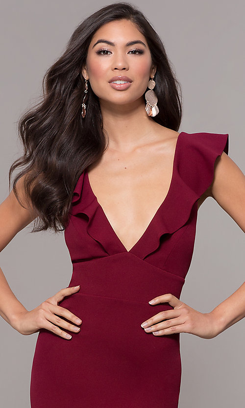 Image of long prom dress with ruffle-trimmed deep v-neckline. Style: JU-10982 Detail Image 1